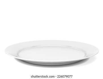 Empty plate. 3d illustration isolated on white background