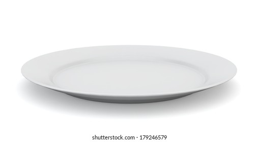 Empty plate. 3d illustration on white background