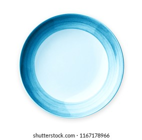 Empty plate with blue pattern edge, Ceramic plate with spiral pattern in watercolor styles, View from above isolated on white background with clipping path