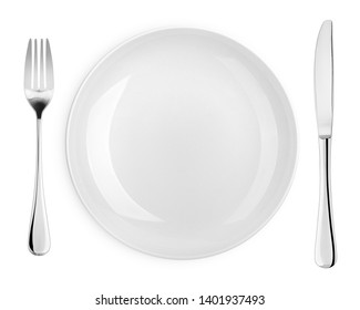 Empty plate, fork, knife, cutlery isolated on white background, clipping path, top view