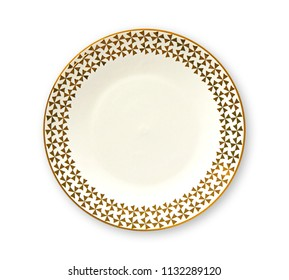 Empty plate with golden pattern edge, White round plate features a beautiful gold rim, View from above isolated on white background with clipping path