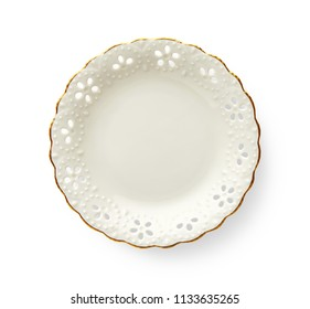 Empty plate with golden pattern edge, White round plate features a beautiful gold rim with floral pattern, View from above isolated on white background with clipping path