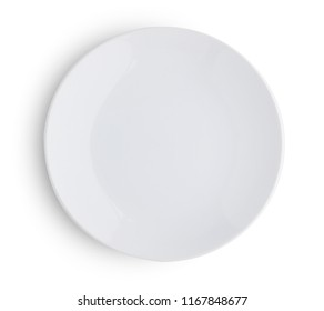 empty plate isolated on white background Top view