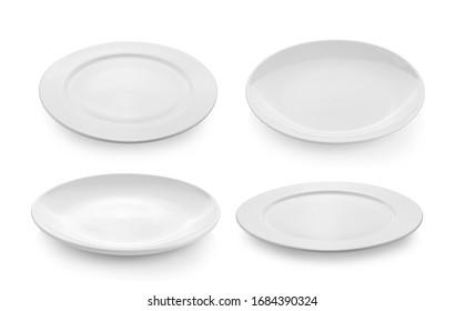 leere Platte einzeln auf weißem Hintergrund