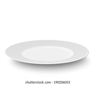 Empty plate isolated on white background. Raster version illustration.
