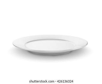 Empty plate isolated on a white background. 3D rendering