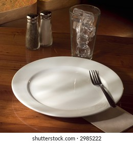Empty plate on table.