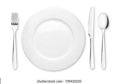 Empty plate, Spoon, fork, knife, clipping path, white background, isolated, top view from first perso