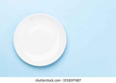 Empty plate. Top view flat lay with copy space