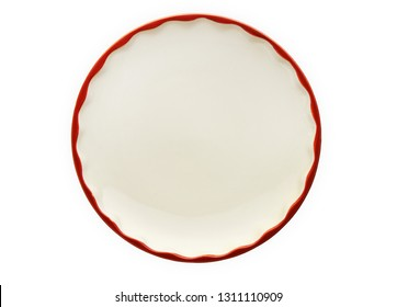Empty plate with wavy edge, Frilled plate, View from above isolated on white background with clipping path