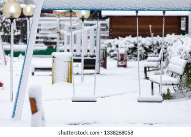 Empty Playground after snowfall in Rome