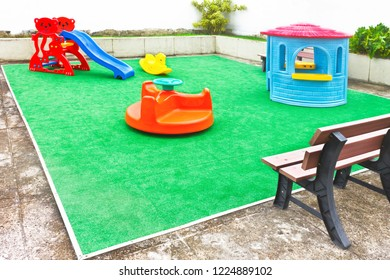 empty playground in the outdoor area with colorful toys