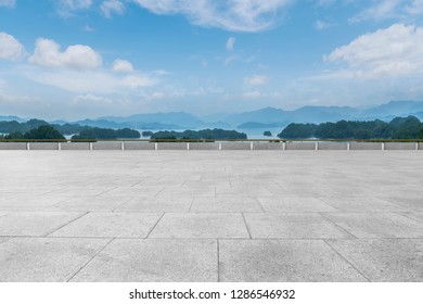 Empty Plaza Floor Bricks and Beautiful Natural Landscape - Shutterstock ID 1286546932