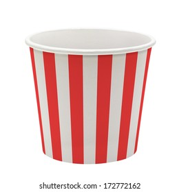 Empty pop corn or ice cream bucket mockup or mock up template isolated on white background