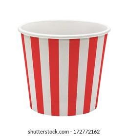 Empty pop corn or ice cream bucket isolated on white background