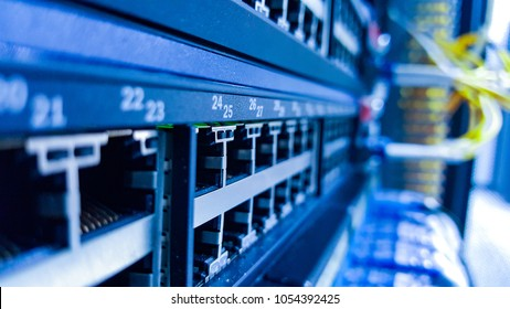 Empty port Network switch and Fiber Optic Cables connected, Information technology