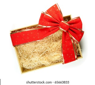 A empty present box with large red ribbon wrapping. For adding something in the box.