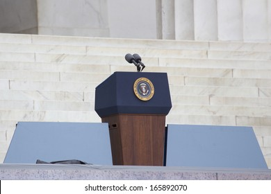 "Empty Presidential Podium, Lincoln Memorial steps,  at the ""Let Freedom Ring"""" 50th Anniversary Of MLK's March On Washington on August 28, 2013"