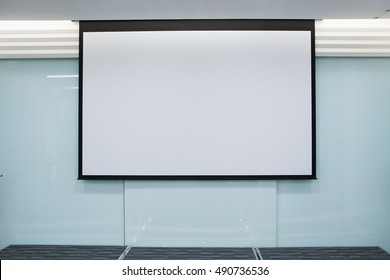 Empty Projection screen, Presentation board, blank whiteboard for conference