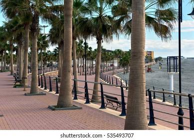 Empty promenade of Adra town. Adra is a municipality of Almeria province, Spain.