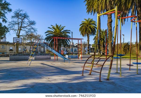 Empty public children games at small square in Montevideo, Uruguay