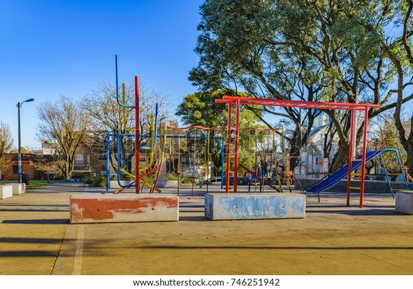 Empty public children games at small square in Montevideo, Uruguay