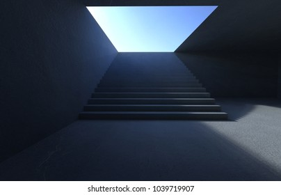 Empty public concrete stairs in the underground .3D rendering .