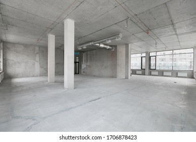 empty pure commercial office building undecorated in gray colors.open space office