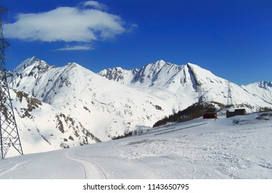 An empty and quied ski trail at La Thuile Village, Aosta Valley province, Italy