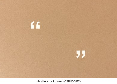 Empty quotation marks on recycling paper - template with space to add your quote, customer review or testimonial text