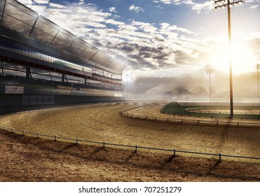empty race track with stadium lights 3d rendering