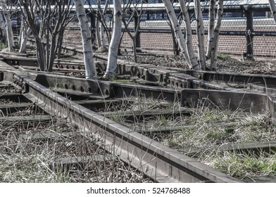 Empty rail with grass and trees