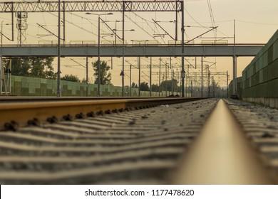 Empty railroad, industrial landscape of an urban city.