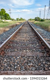 Empty Railroad Tracks with Gravel and Ties on Canadian Prairie