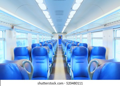 Empty railway carriage. Interior of an Italian railway carriage. No people. Soft and selective focus.