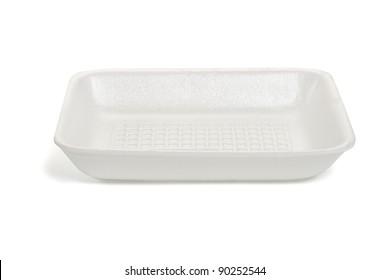 Empty rectangle shape Styrofoam food tray isolated on white background