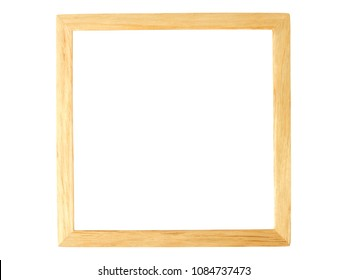 Empty rectangle wooden frame isolated on white background