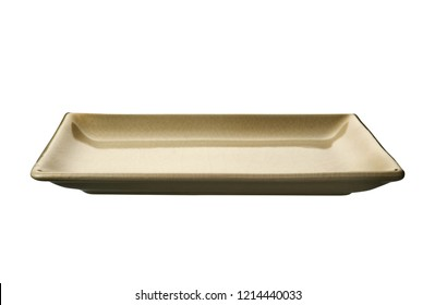 Empty rectangular plate, Brown ceramics plate in cracked pattern isolated on white background with clipping path, Side view