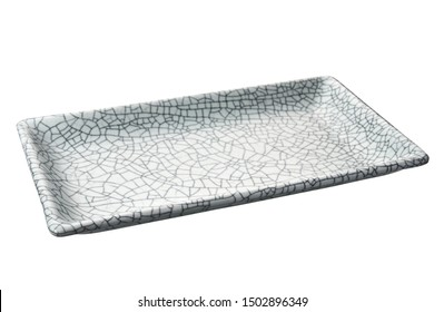 Empty rectangular plate in cracked pattern, White ceramics plate isolated on white background with clipping path, Side view