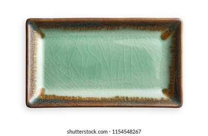Empty rectangular plate, Green ceramics plate in cracked pattern, View from above isolated on white background with clipping path