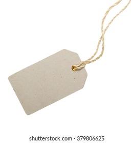 Empty rectangular tag on a string. Sale or price tag.