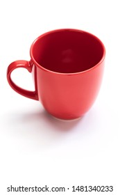 Empty Red coffee cup on a white background. copy space for text