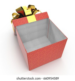 Empty red gift box on white. 3D illustration, clipping path