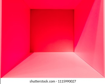 Empty red gradient room space, interior for design and decoration - abstract background. square box with blank inner space. Empty room interior perspective view. Photobox inside.