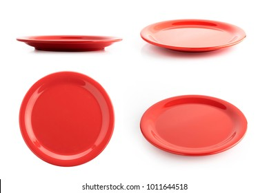 empty red plate isolated on a white background
