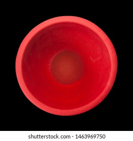 empty red pottery flowerpot or pot and earthenware on top view and black background isolated included clipping path