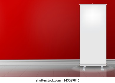 Empty red wall and white tile floor with roll up