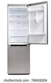 Empty refrigerator isolated on white background