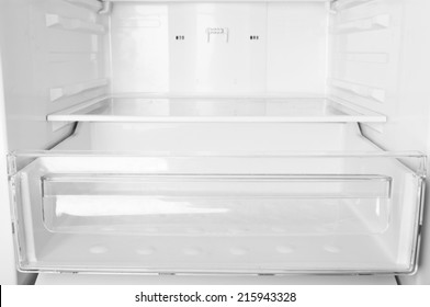 Empty refrigerator shelves closeup