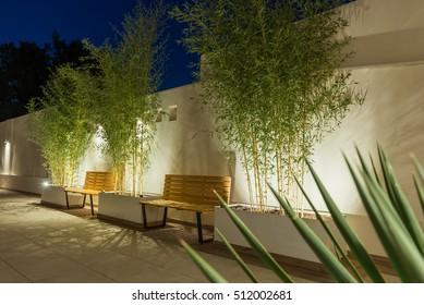 Empty restaurant garden